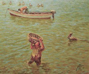 Llegó el pescado. 1974. 55 x 65 cm